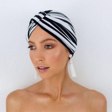 Louvelle Amelie Shower Cap in Monochrome Strip